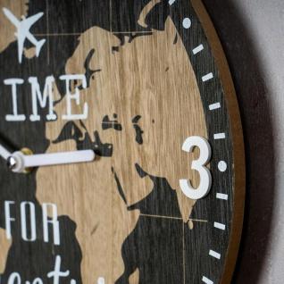 Wanduhr 30x30cm Uhr Holz Braun Küchenuhr Weltkarte Wanddeko Deko Zahlen Map - Vorschau 4