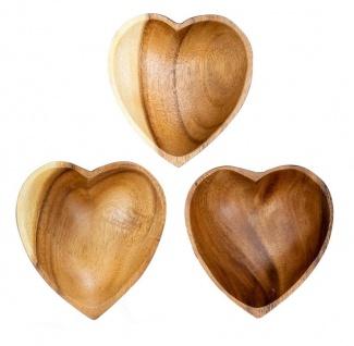 3er Set Schüssel Akazie 10x3cm Herz Holz Design Schale Obstschale Obstkorb Korb