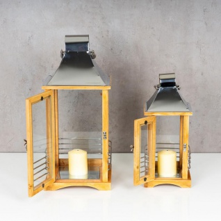 2er Set Laterne 47cm Hoch Braun Metall Streben Deko Holz Windlicht Gartenlaterne - Vorschau 5