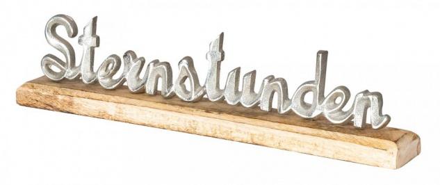 Schriftzug Sternstunden L40cm Metall Silber Mango Holz Tischdeko Deko Aufsteller