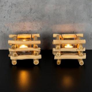 2er Set Teelichthalter Treibholz 15 x 15 cm Holz Glaseinsatz Kerzenhalter - Vorschau 5