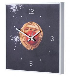 Wanduhr 30x30cm Uhr PVC Rahmen Weiß Küche Pasta Nudeln Gewürze Deko Küche Deko