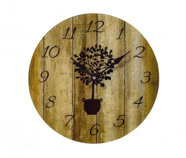 Wanduhr Glas 34cm rund Holzoptik Natur braun Glasuhr Baum