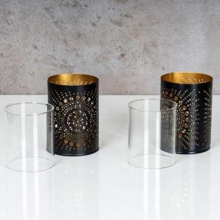 2er Set Teelichthalter Rund Schwarz Gold H11cm Metall Windlicht Kerzenhalter - Vorschau 5