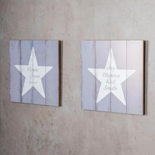 levandeo 2er Set Wandbild Holz MDF Je 32x32cm Dekoschild Wanddeko Spruch Home - Vorschau 5