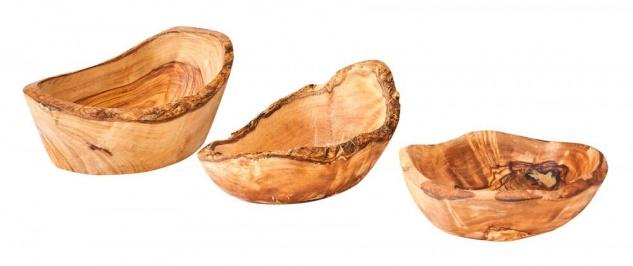 3er Set Olivenholz Schüssel ca. 12-16cm Rustikal Klein Mittel Groß Unikat Schale