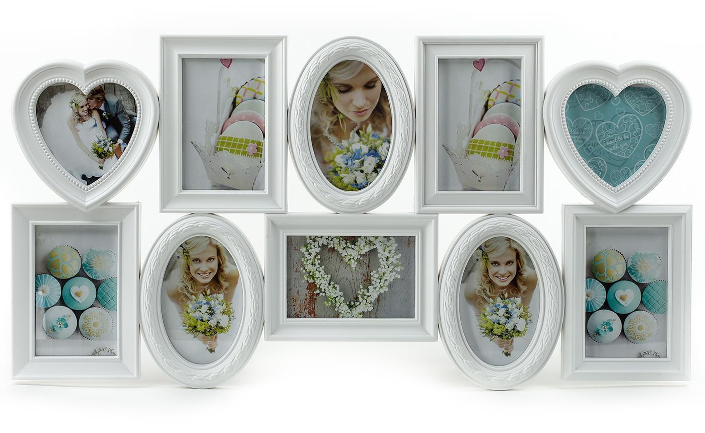 fotogalerie mit herzen wei 10 fotos bilderrahmen fotocollage collage kaufen bei living by design. Black Bedroom Furniture Sets. Home Design Ideas