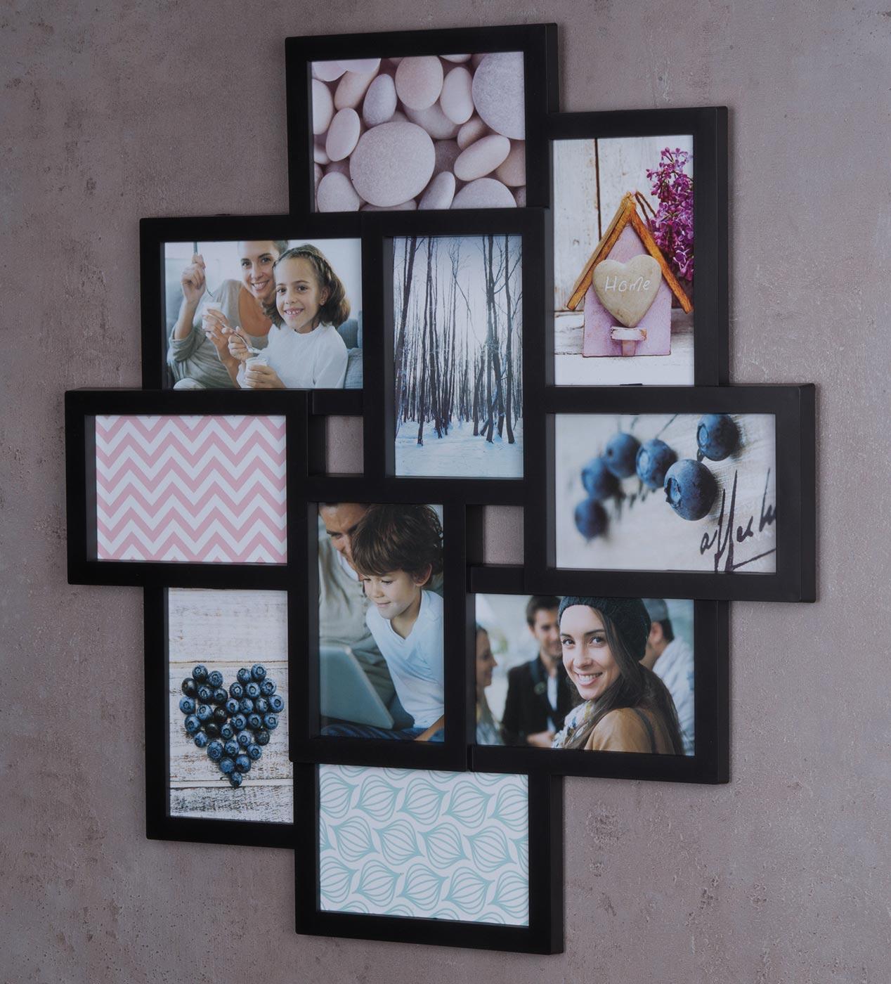 Bilderrahmen schwarz 10 Fotos Fotogalerie Fotocollage 3D Optik ...
