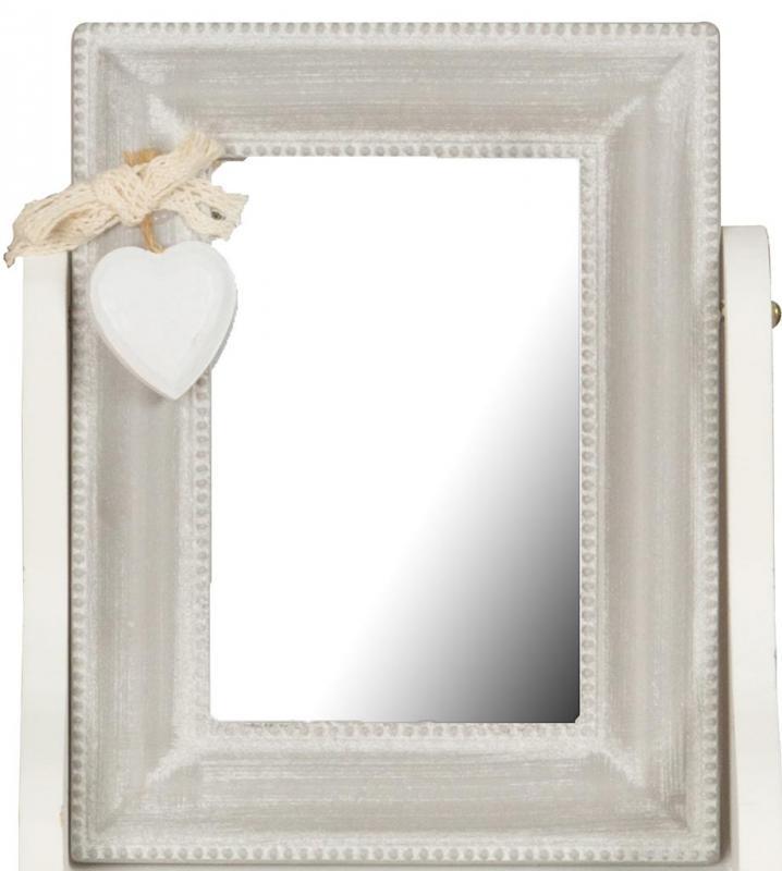 schmuckk stchen 16 5x24cm holz wei spiegel shabby chic vintage kaufen bei living by design. Black Bedroom Furniture Sets. Home Design Ideas