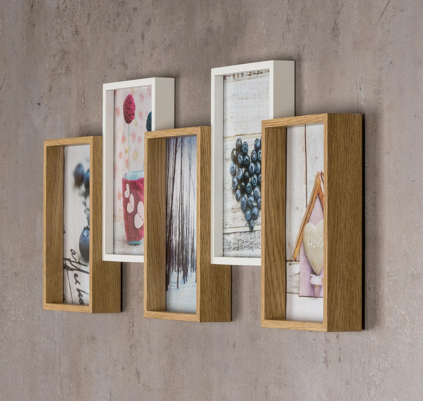 bilderrahmen holz 54 5x21cm eiche wei 5 fotos 10x15 glas. Black Bedroom Furniture Sets. Home Design Ideas