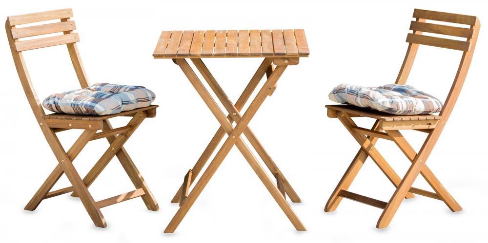 5tlg Balkonmobel Set Tisch Stuhle Stuhlkissen Akazienholz Garten