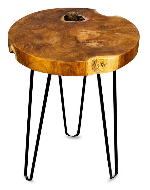 Beistelltisch Teakholz Tisch Höhe 40cm Metallbeine Holztisch Teak