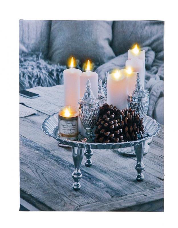 Kerzen Dekoration.2er Set Led Leinwandbilder Wandbild Kerzen Je 40x30cm Dekoration