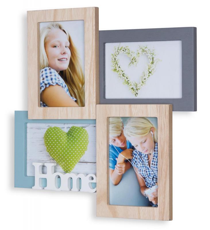 Bilderrahmen 4 Fotos 33x33cm 10x15 Holz Natur Home Collage ...