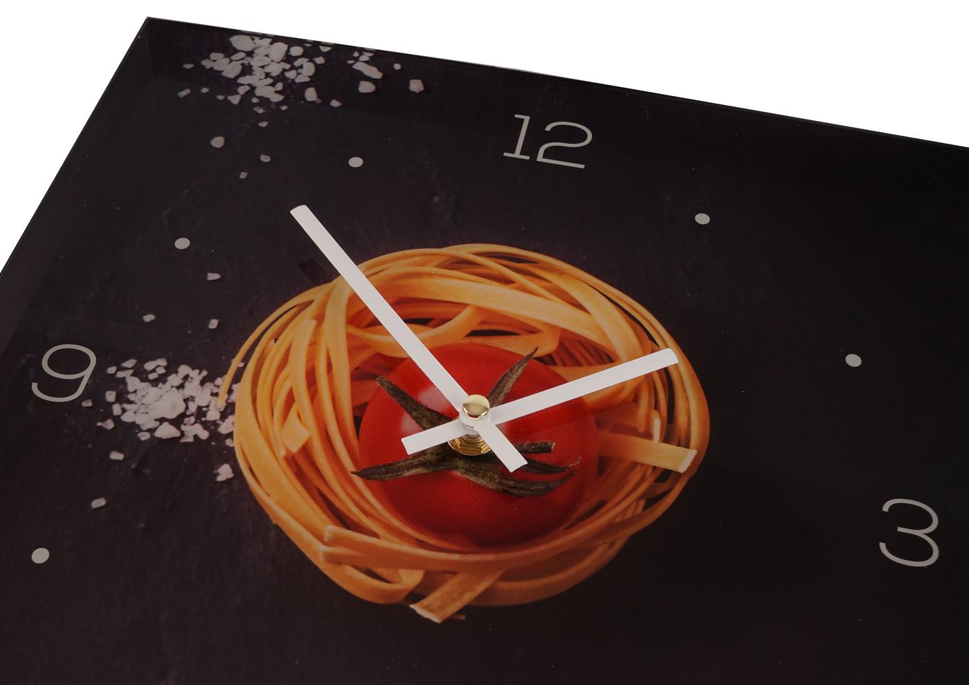 Wanduhr Aus Glas 30x30cm Uhr Glasbild Küche Pasta Nudeln Gewürze . Glasbild  Für Küche ...