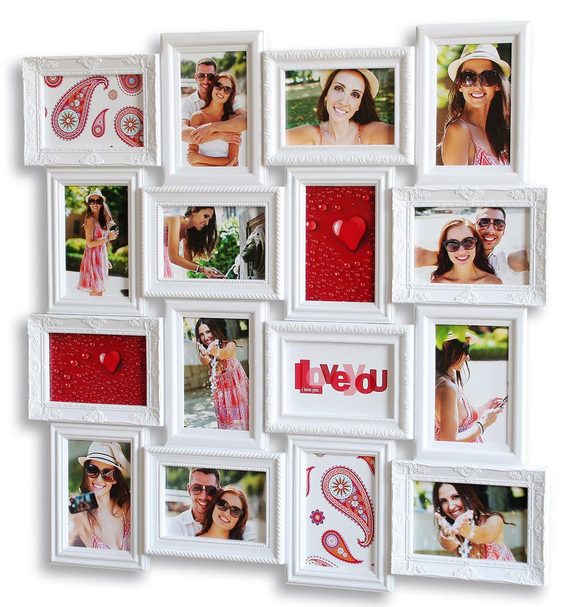 Bilderrahmen in weiß 16 Fotos Barock antik Fotorahmen Collage ...