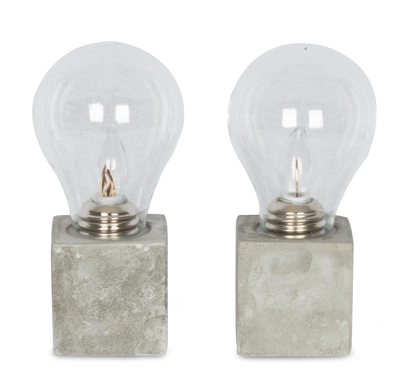 2er set tischleuchte 9 5x20cm led gl hbirne beton tischlampe deko glas kaufen bei living by. Black Bedroom Furniture Sets. Home Design Ideas