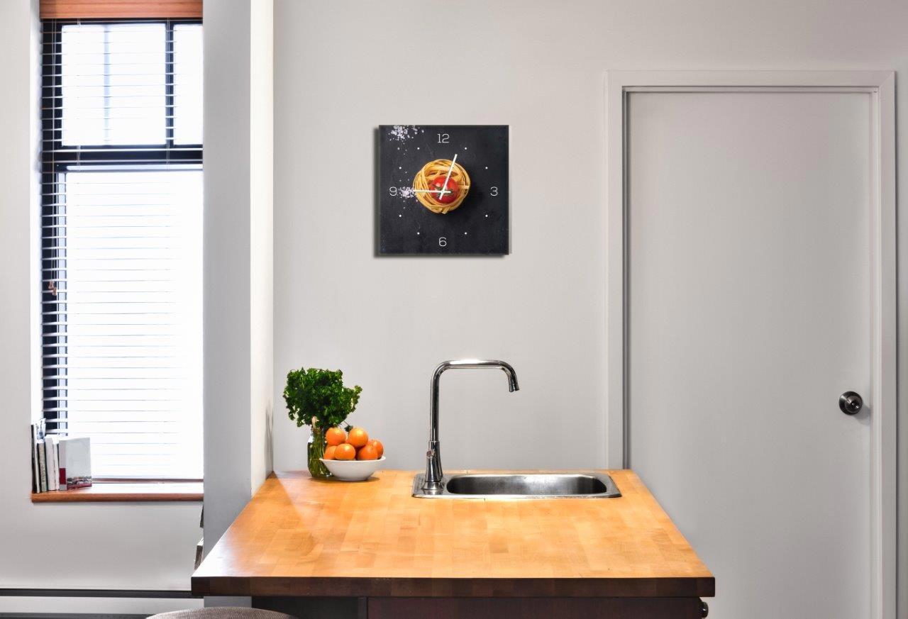 Wanduhr aus Glas 30x30cm Uhr Glasbild Küche Pasta Nudeln Gewürze ...