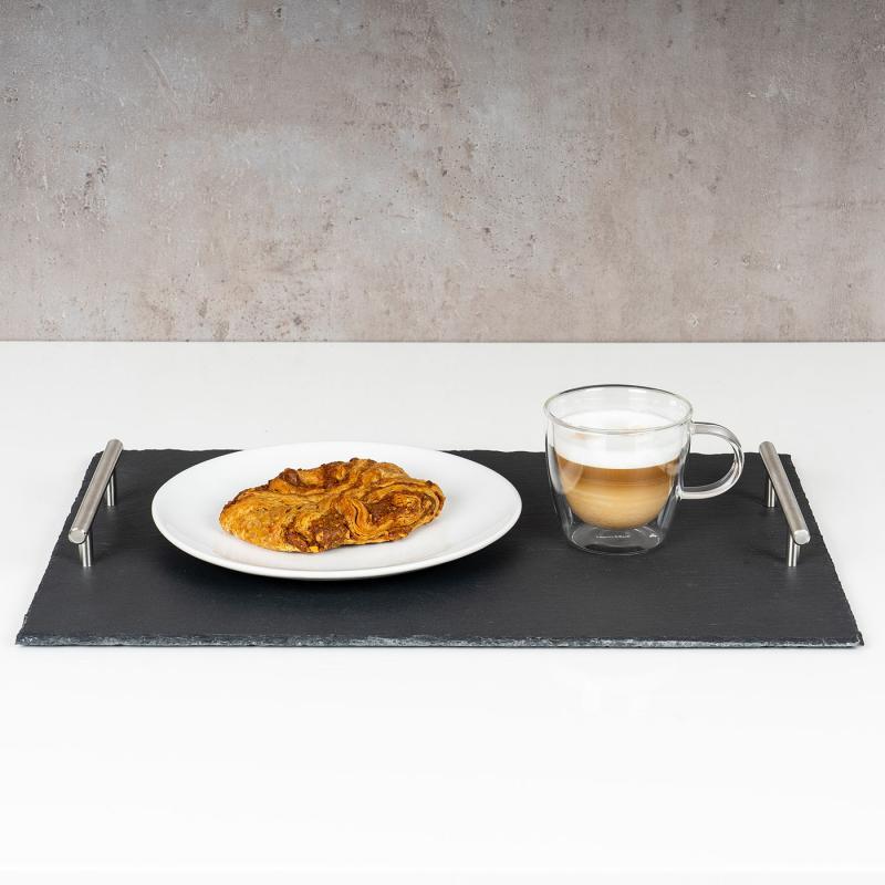 mit Metallgriffen // Serviertablett Servierplatte Schiefer Tablett rund 30 cm