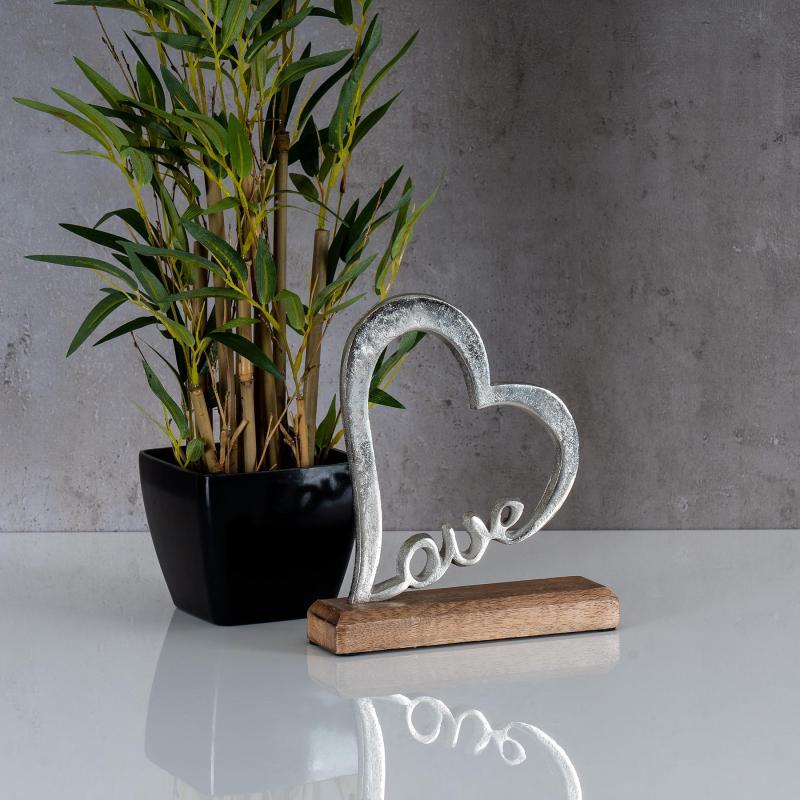 Schriftzug Zuhause L40,5cm Metall Silber Mango Holz Tischdeko Deko Aufsteller