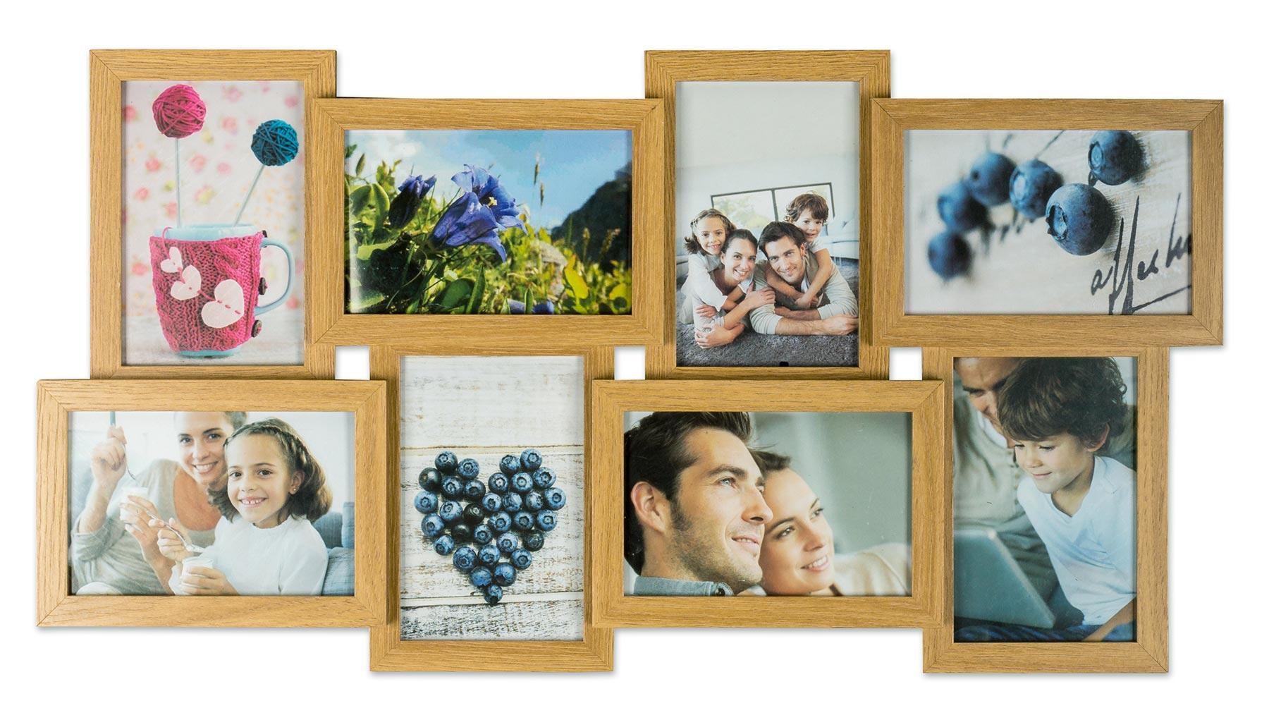 levandeo bilderrahmen collage 57x30cm 8 fotos 10x15 eiche. Black Bedroom Furniture Sets. Home Design Ideas