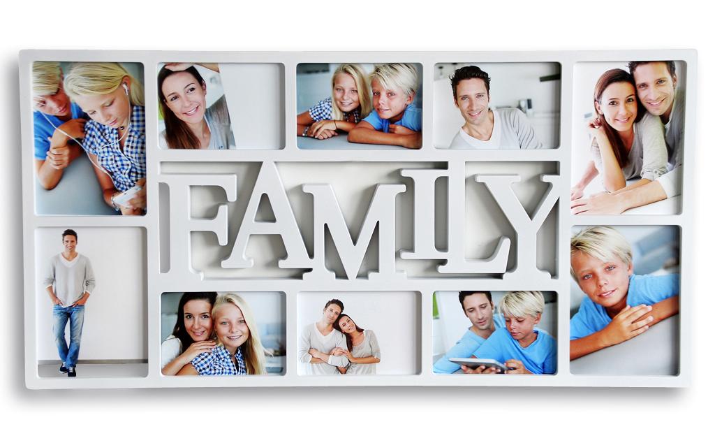 Bilderrahmen weiß Schriftzug FAMILY 10 Fotos Fotogalerie Collage ...