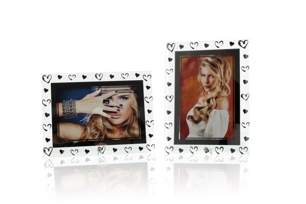 levandeo 2er Set Bilderrahmen 10x15cm 13x18cm MDF Holz Glas Weiß Braun Portrait