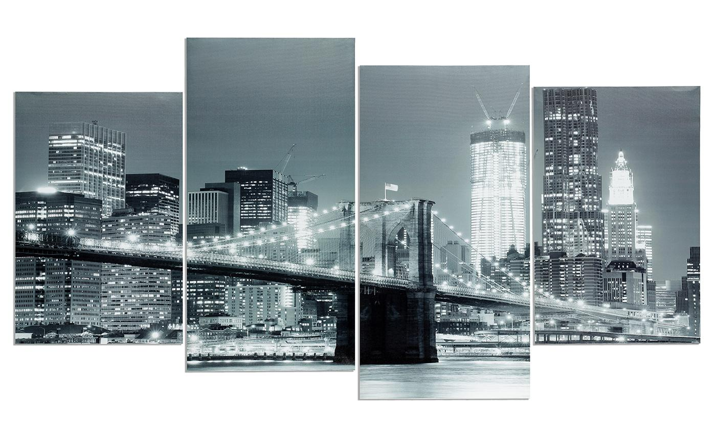 wandbild 4 teilig new york brooklyn bridge usa amerika bild leinwand kaufen bei living by design. Black Bedroom Furniture Sets. Home Design Ideas
