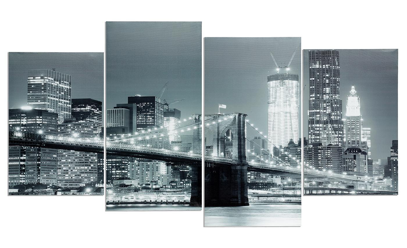 wandbild 4 teilig new york brooklyn bridge usa amerika bild leinwand kaufen bei living by design. Black Bedroom Furniture Sets. Home Design Ideas