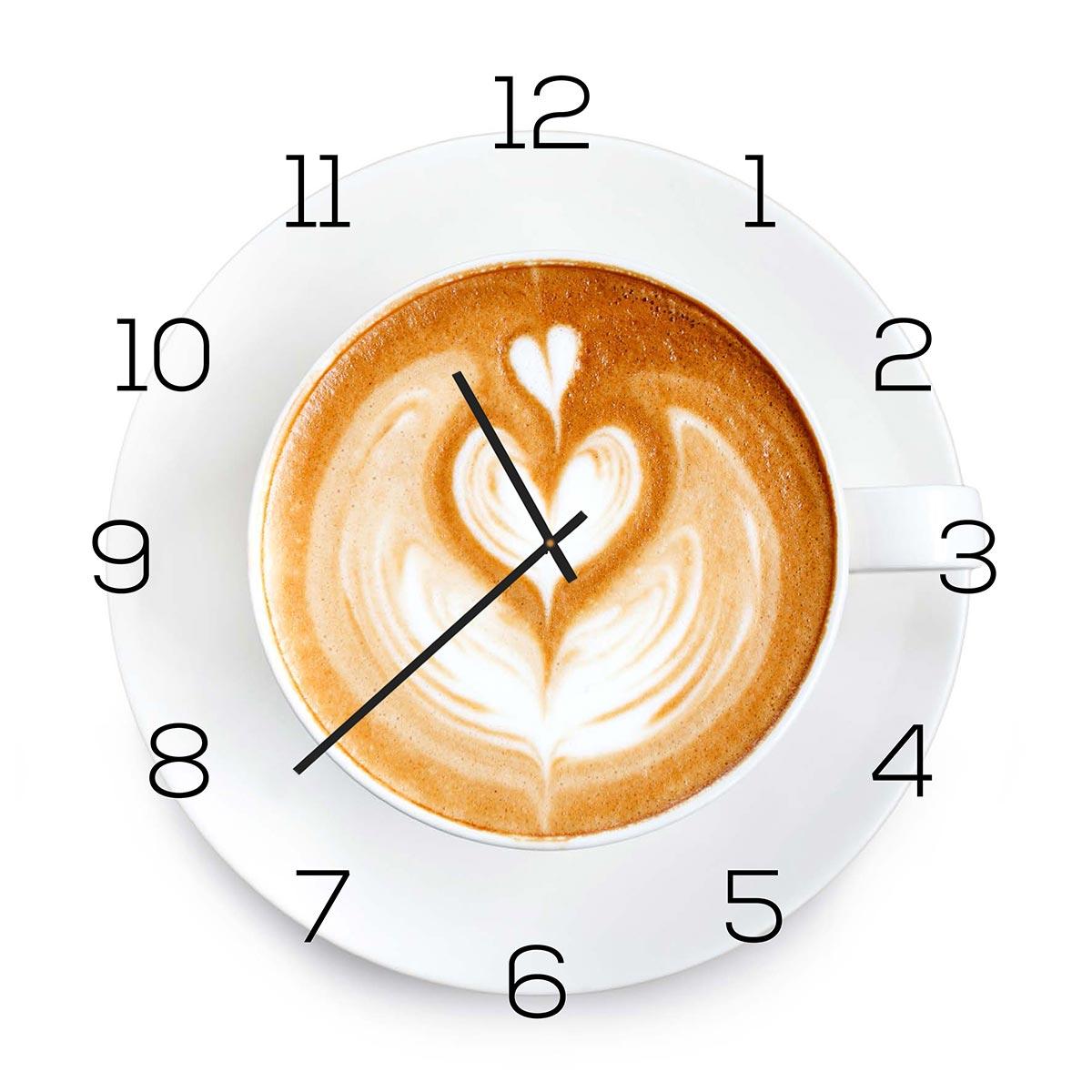 Wanduhr aus Glas 30x30cm Uhr als Glasbild Küche Cappuccino Coffee ...