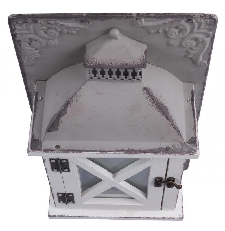 Laterne Windlicht Metall Weiß Shabby Vintage Weihnachten: Laterne H X B X T 35x21x10cm Holz Metall Grau Weiß Shabby