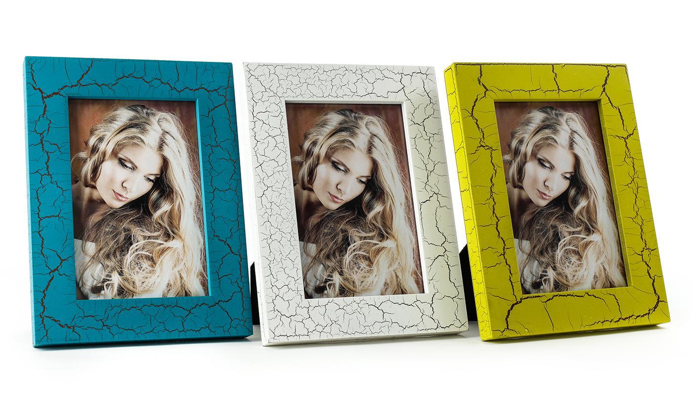 3er Set Bilderrahmen Shabby blau, weiß und gelb grün Portraitrahmen ...