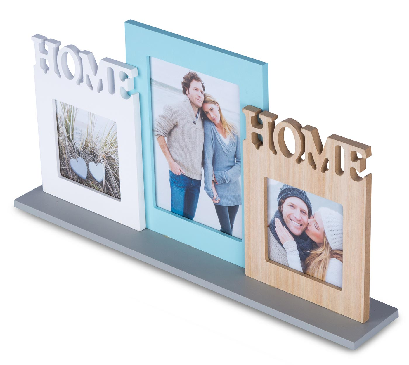 Bilderrahmen Holz 3 Fotos Home 44x23cm Fotorahmen Collage Galerie ...