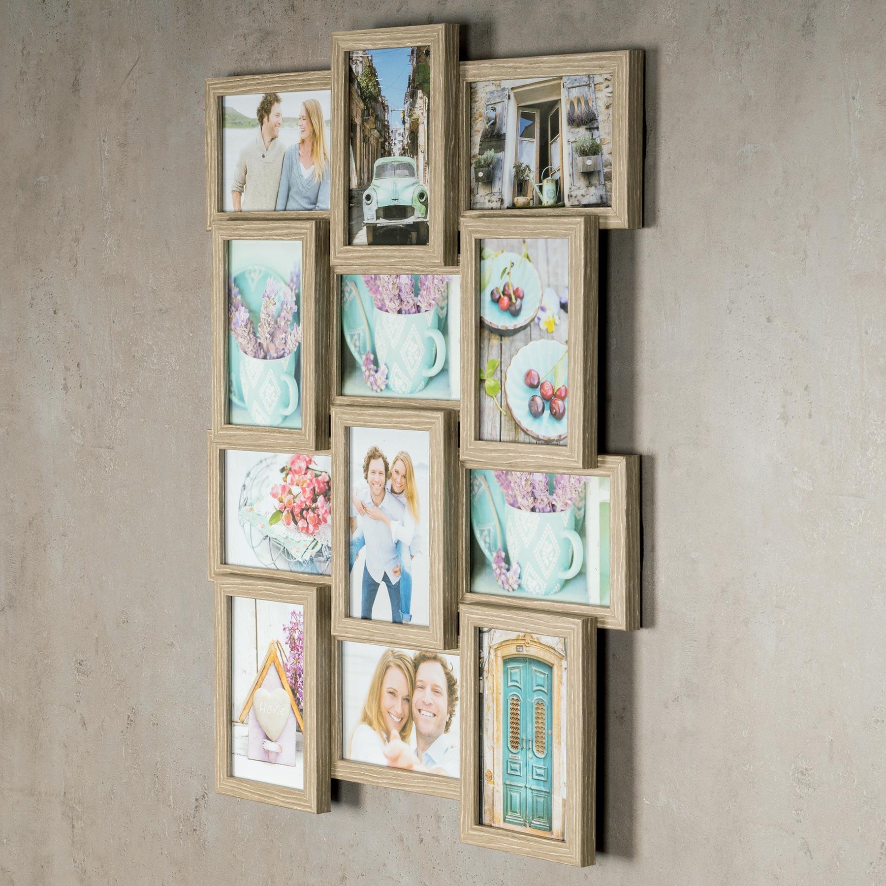 levandeo bilderrahmen collage 45x58cm 12 fotos 10x15 eiche gek lkt mdf holz glas kaufen bei. Black Bedroom Furniture Sets. Home Design Ideas