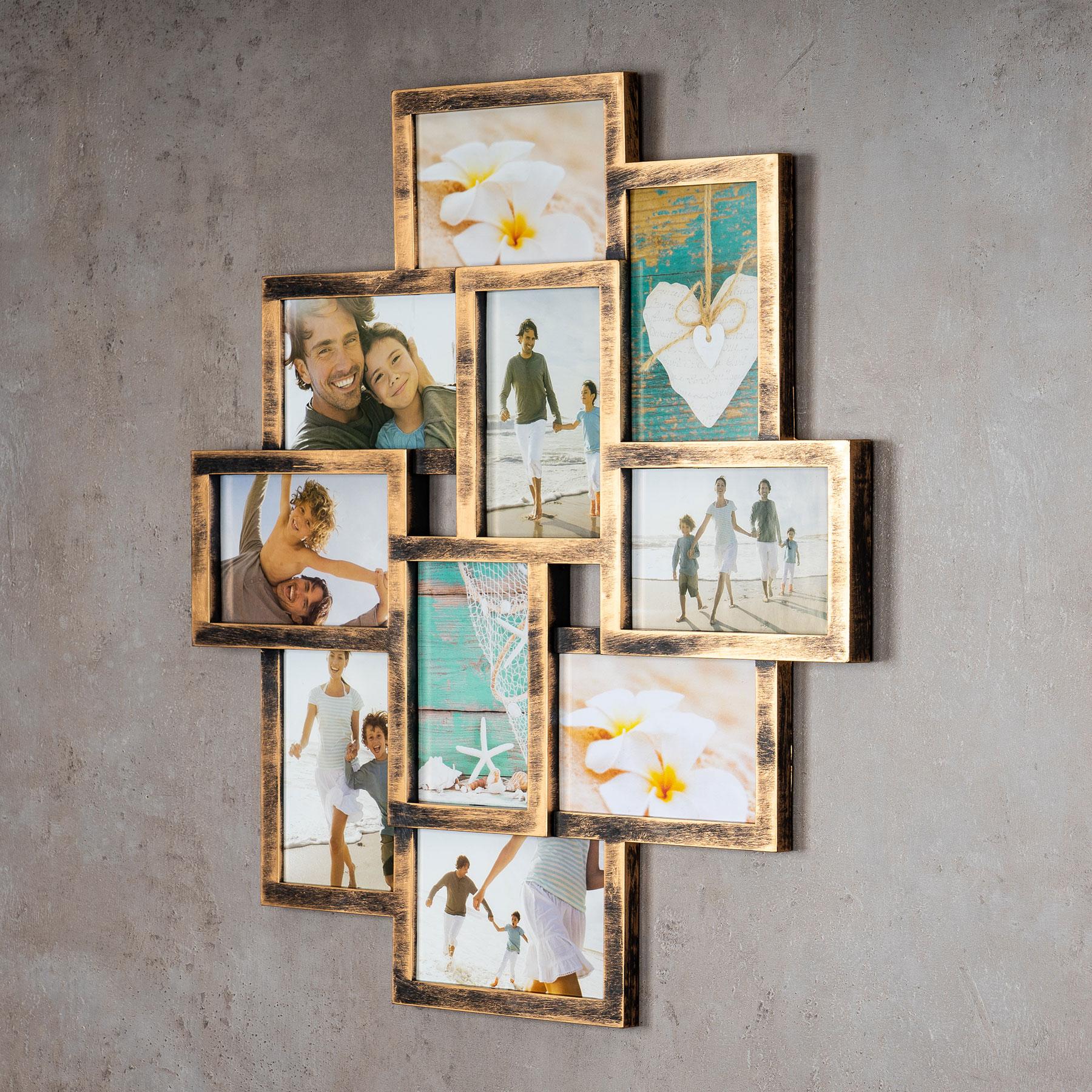 levandeo Bilderrahmen Collage 50x55cm 10 Fotos 10x15cm Kupfer ...