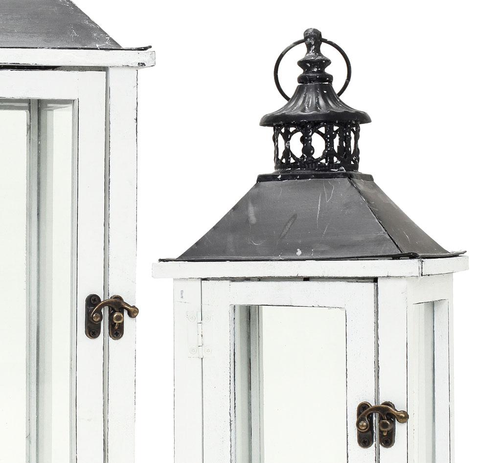 2tlg. Laternen Set Holz weiß Metall Glas Shabby Chic Garten ...