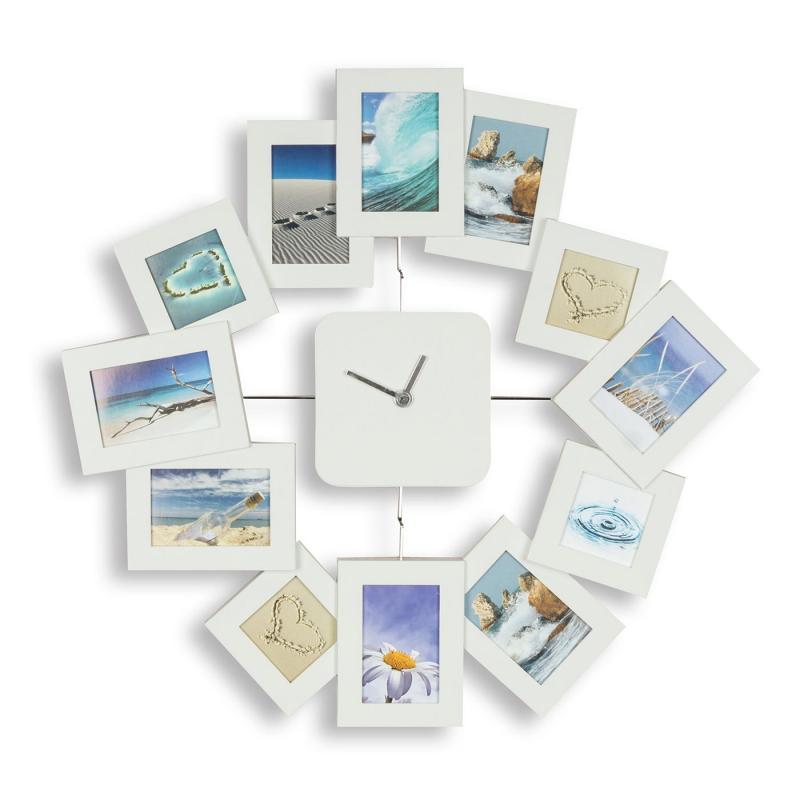 Wanduhr 40, 5x42, 5cm Weiß Bilderrahmen Foto-Uhr 12 Fotos ...
