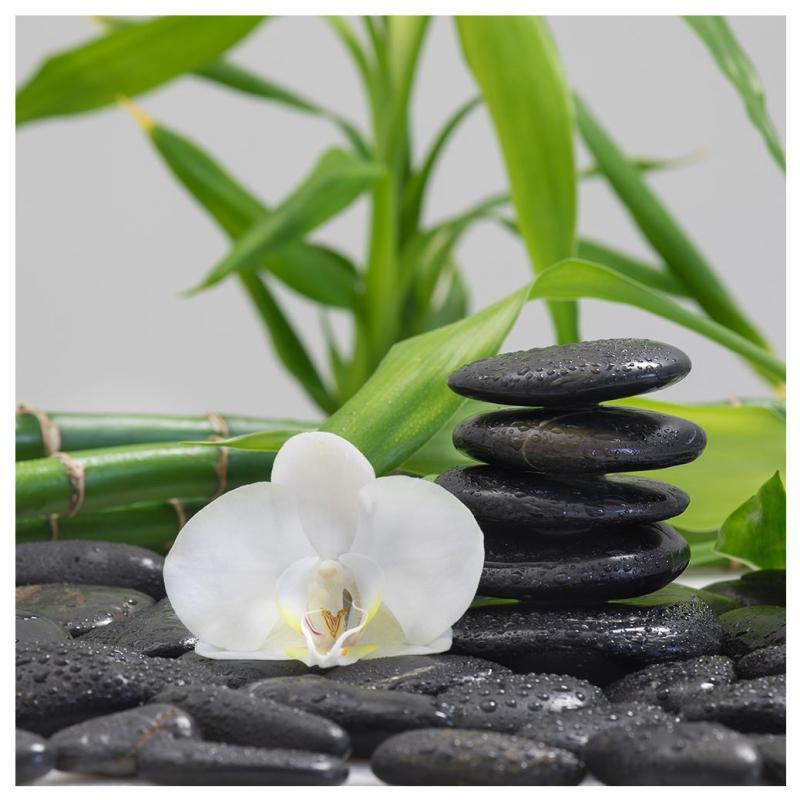 Levandeo Glasbild 30x30cm Bambus Orchideen Steine Wandbild Deko