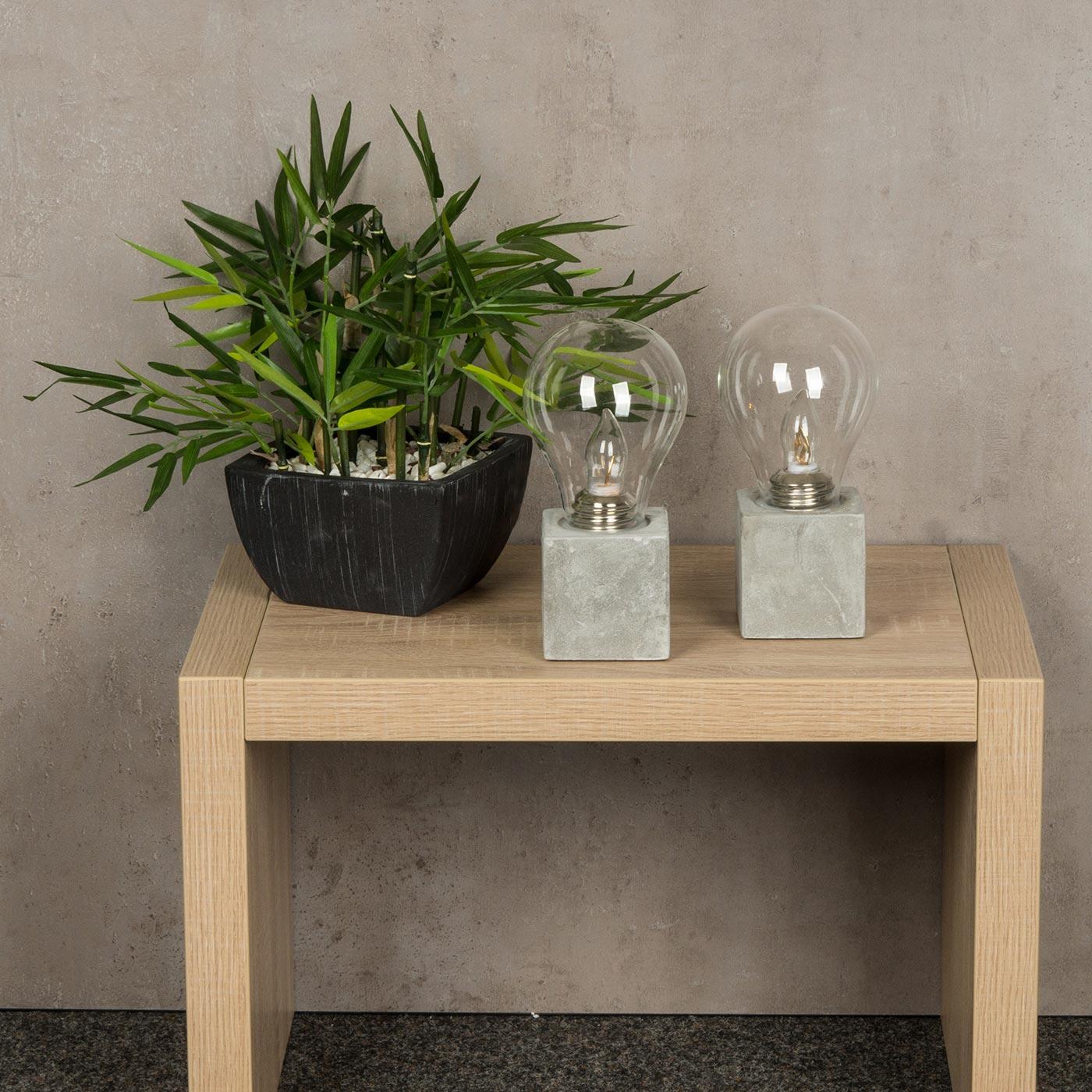 2er set tischleuchte 9 5x20cm led gl hbirne beton. Black Bedroom Furniture Sets. Home Design Ideas