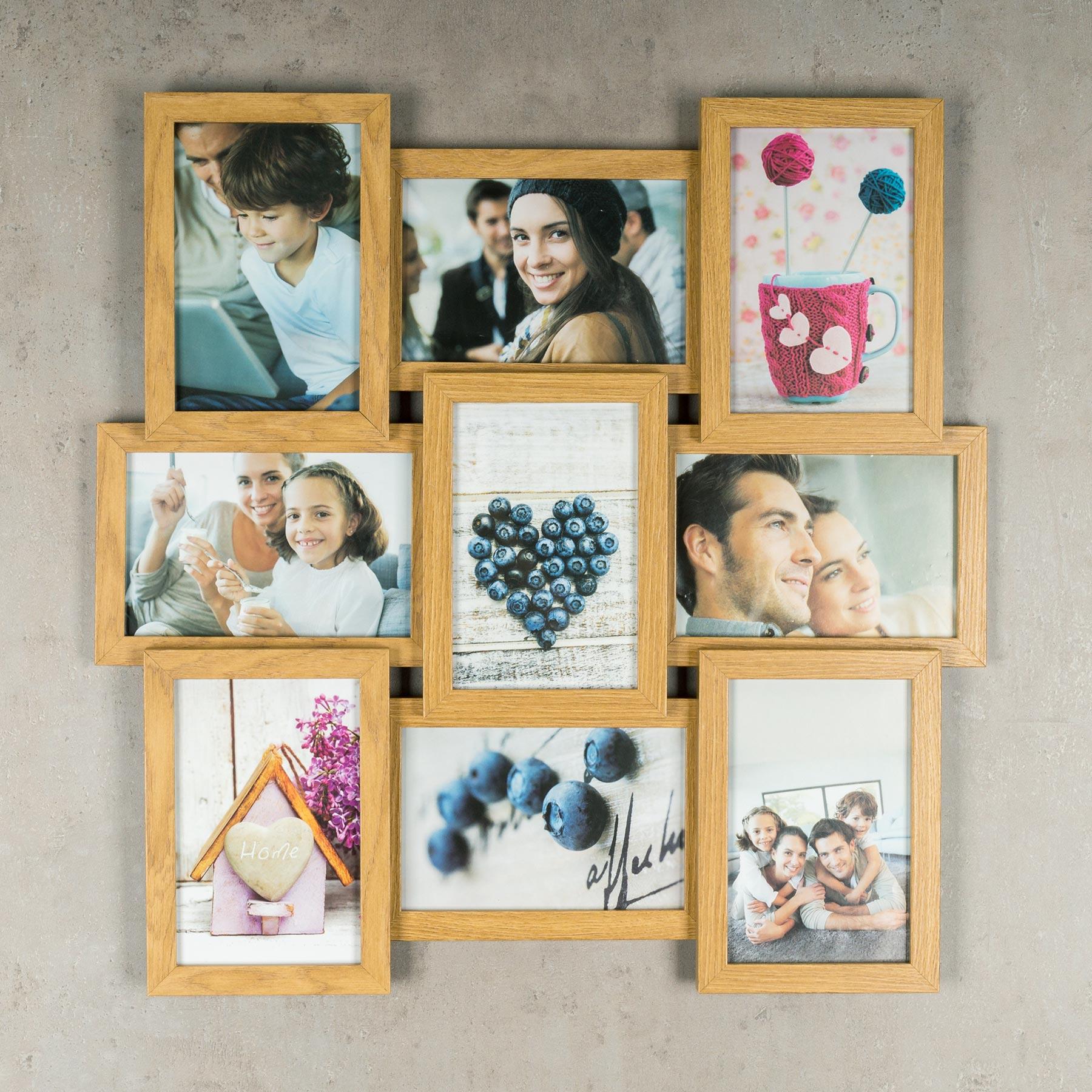 levandeo bilderrahmen collage 45x45cm 9 fotos 10x15 eiche. Black Bedroom Furniture Sets. Home Design Ideas