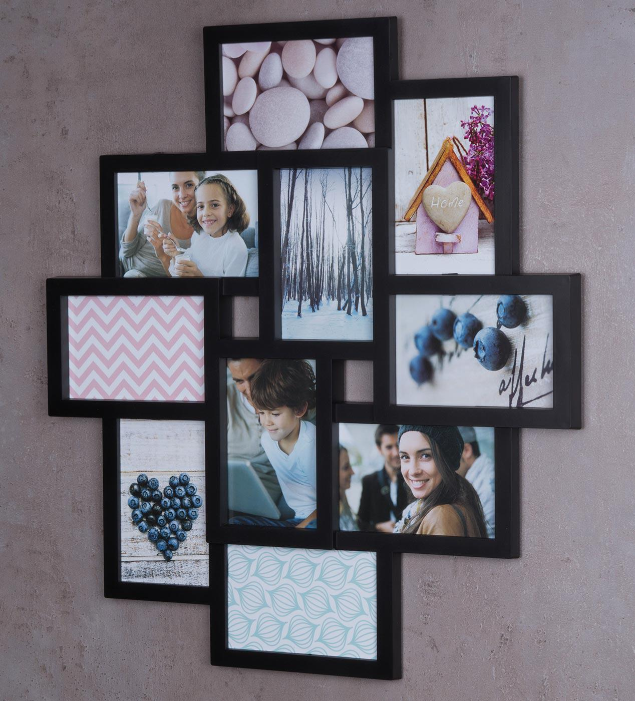 bilderrahmen schwarz 10 fotos fotogalerie fotocollage 3d optik collage kaufen bei living by design. Black Bedroom Furniture Sets. Home Design Ideas