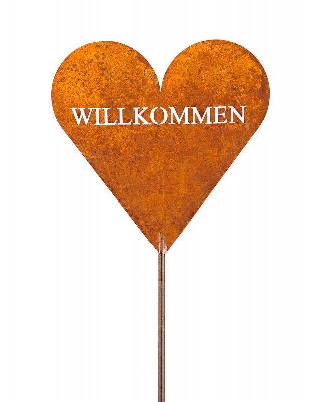 Stele Willkommen Garten-Deko 20x100cm Herz Rost Rostdeko Edelrost Schild Herz