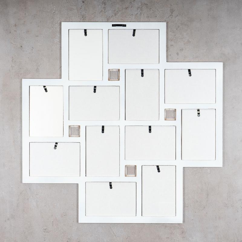 Beliebt Bilderrahmen Collage 60x60cm 12 Fotos 10x15cm Holz Weiß Galerie TR31