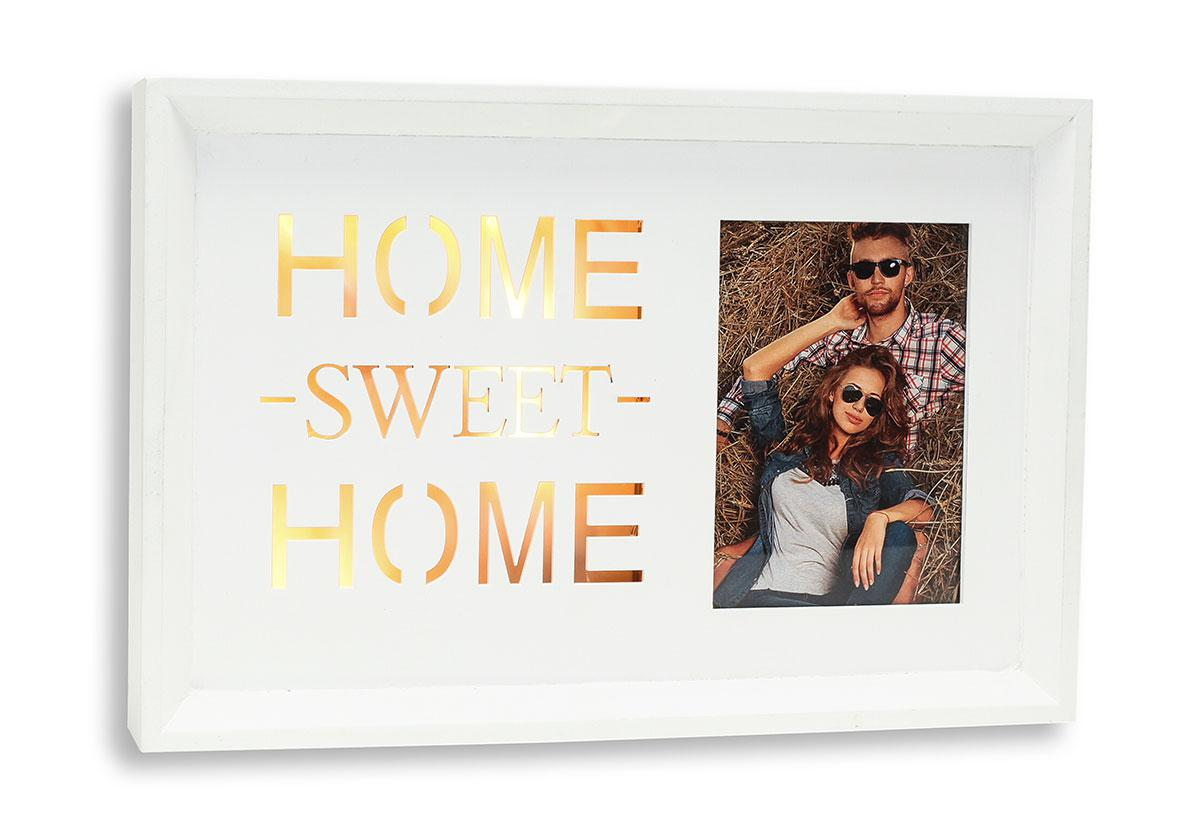 LED Bilderrahmen Home Sweet Home Fotorahmen Holz weiß Dekoration ...