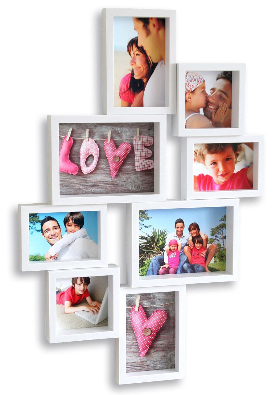 Galerierahmen in weiß 8 Fotos Bilderrahmen Fotogalerie Fotocollage ...