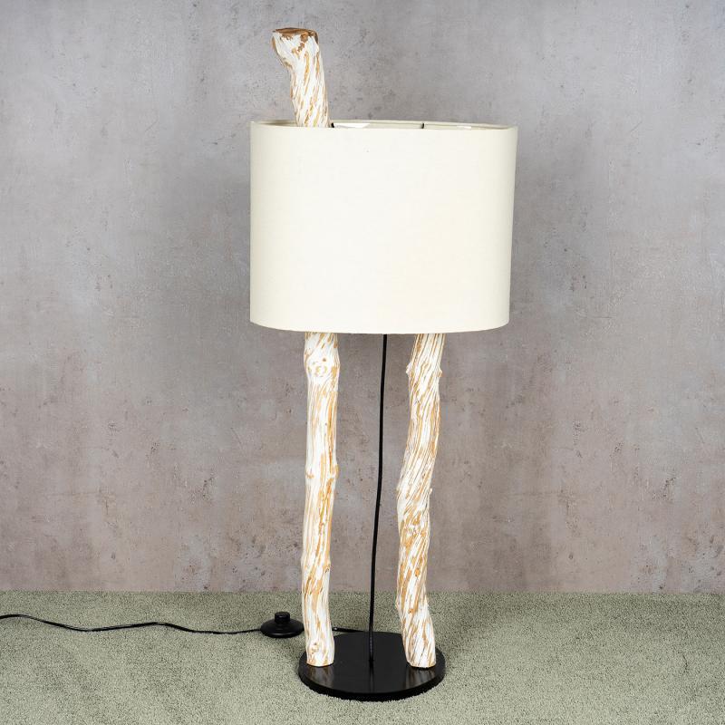 Stehlampe Höhe 95cm Treibholz Stehleuchte Holz Lampe Teakholz Weiß Braun  Deko