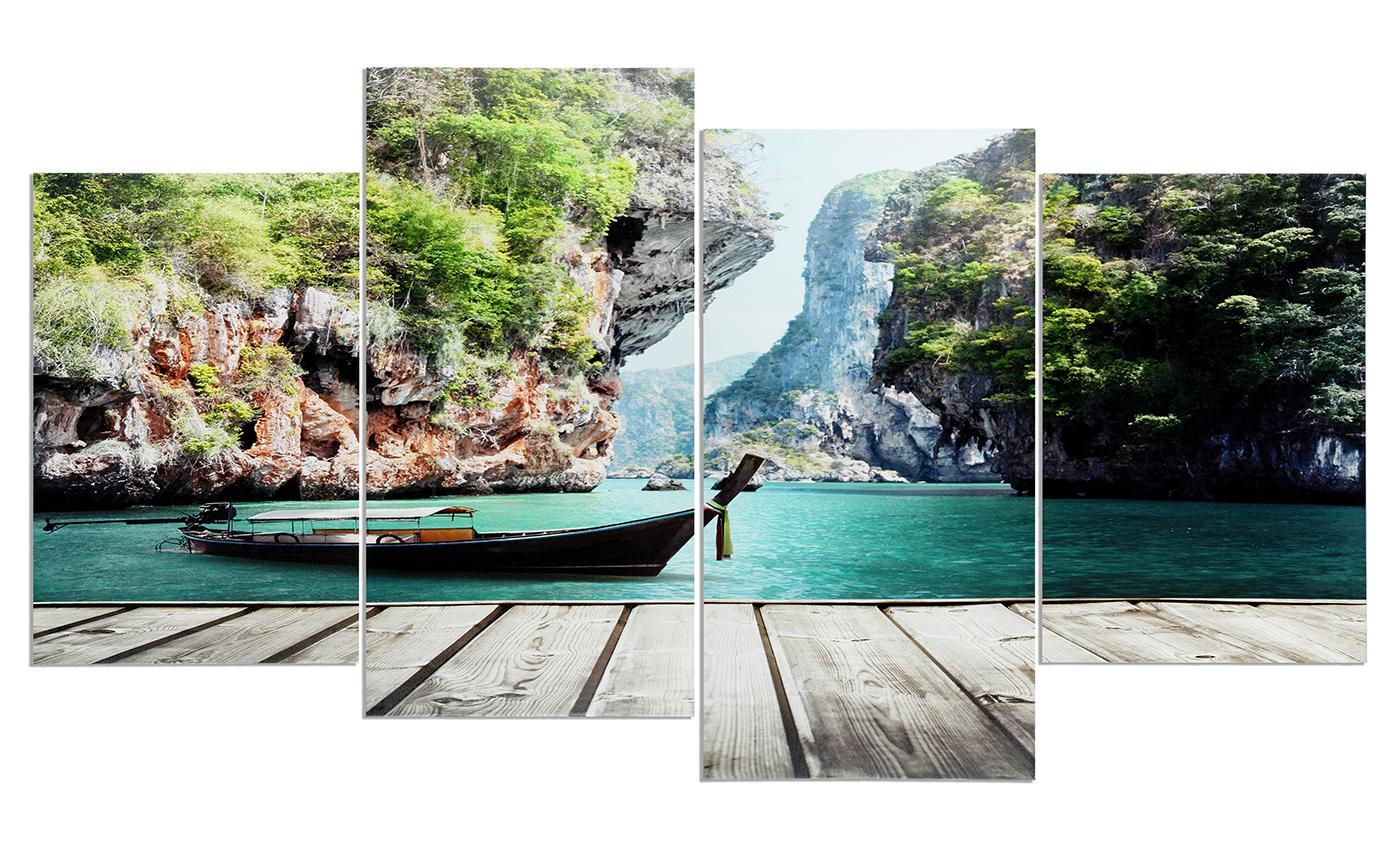 Wandbilder natur  Wandbild 4 teilig Wasser Landschaft Boot Natur Canyon Bild ...