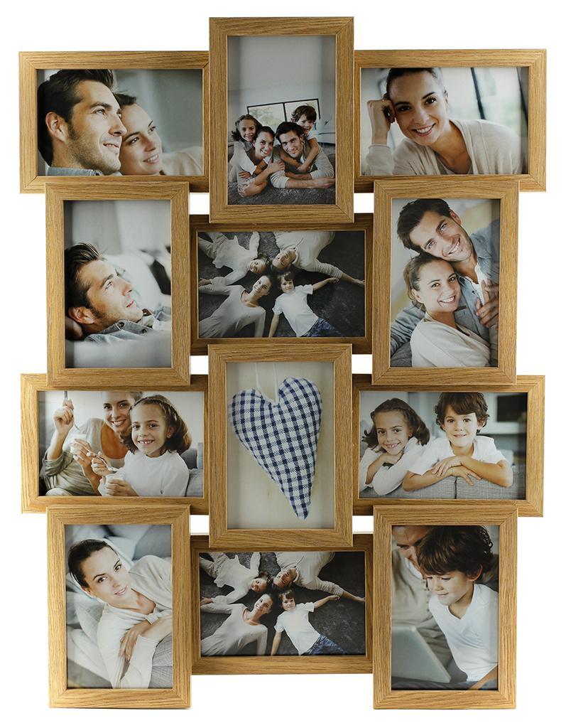 fotogalerie holz eiche natur 12 fotos glasscheibe bilderrahmen collage kaufen bei living by design. Black Bedroom Furniture Sets. Home Design Ideas