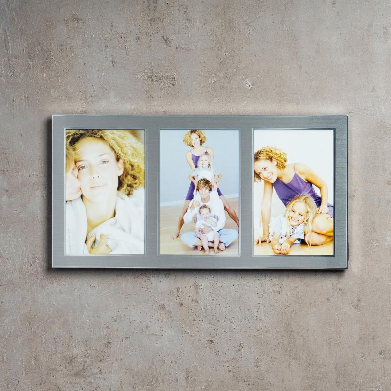 levandeo Bilderrahmen 3 Fotos 10x15cm Collage Alu Aluminium silber ...