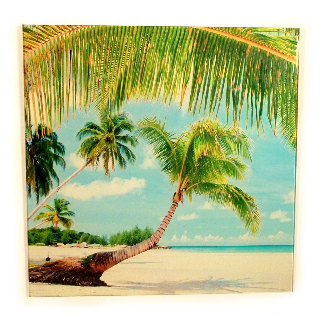 wandbild glas glasbild 40x40cm strand urlaub palmen sand meer karibik kaufen bei living by design. Black Bedroom Furniture Sets. Home Design Ideas
